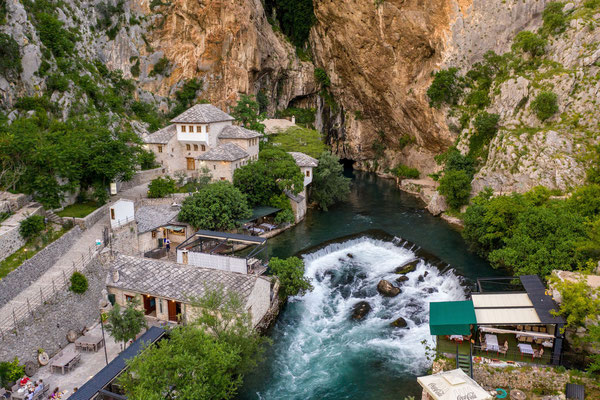 Spring of Buna river, and Blagaj Tekija - Historic monastery with a mausoleum