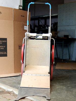 Scricciolo 12V hdb con il sistema di  pianale in legno a ponte abbassabile per facilitare il cane a salirci sopra .