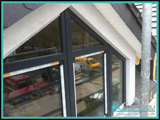 Dachgiebel Verkleidung aus Glasschaumplatten