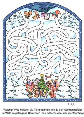 Weihnachtsrätsel, Labyrinth mit Tieren und Weihnachtsbaum, Bilderrätsel