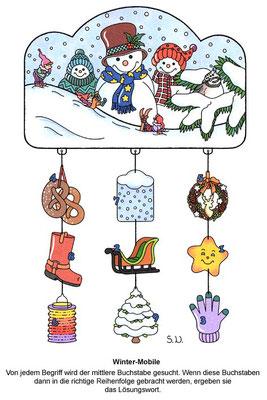 Worträtsel mit Schneemännern und Wichteln, Winter, Bilderrätsel