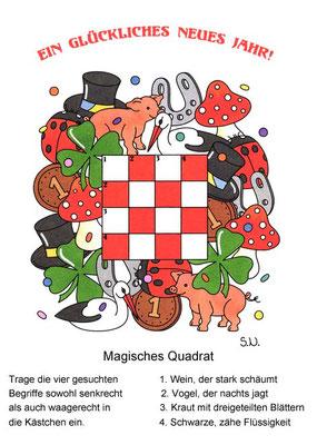Magisches Quadrat mit Glücksbringern, Neujahr, Bilderrätsel