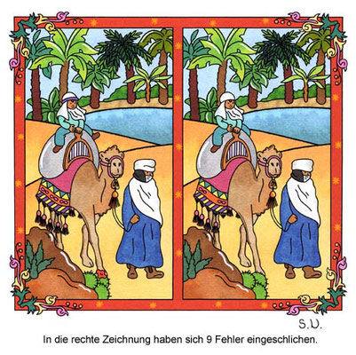 Fehlersuchbild Oase, Mann führt ein Kamel mit reitendem Kind, Bilderrätsel