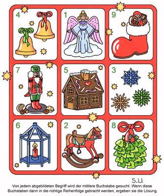 Weihnachtsrätsel, Worträtsel mit weihnachtlichen Begriffen, Bilderrätsel