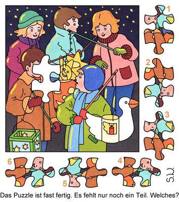Suchbild mit Kindern und Laternene, Puzzle, Bilderrätsel