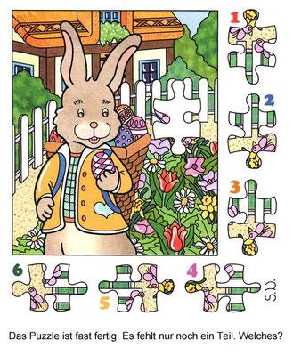 Osterrätsel, Osterhase im Garten, Puzzle, Suchbild, Bilderrätsel