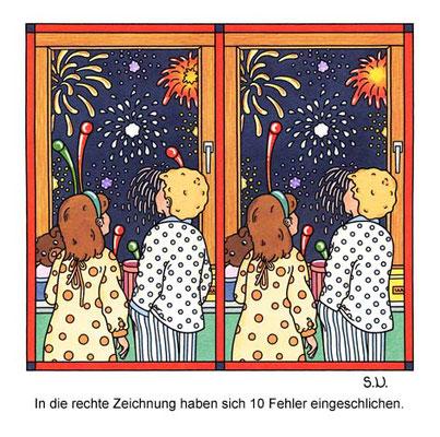 Fehlersuchbild, Kinder betrachten ein Feuerwerk, Silvester, Bilderrätsel