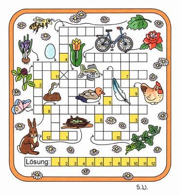 Kreuzworträtsel mit Bildern, Frühling, Bilderrätsel