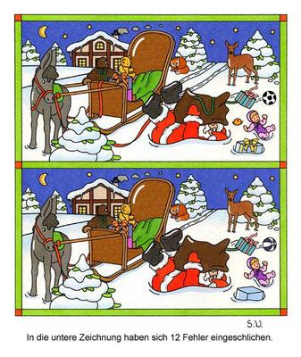 Weihnachtsrätsel, Fehlersuchbild, Weihnachtsmann ist in den Schnee gefallen, Bilderrätsel