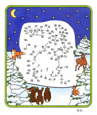 Weihnachtsrätsel, Malen nach Zahlen, Weihnchtsmann und Tiere bei Nacht, Bilderrätsel, Punkte verbinden