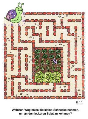 Labyrinth mit Schnecke und Salatbeet, Bilderrätsel