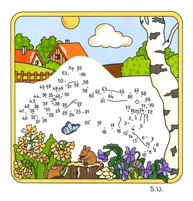 Malen nach Zahlen, Hase in Landschaft, Bilderrätsel, Punkte verbinden