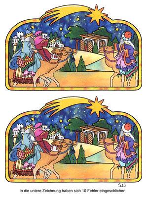 Weihnachtsrätsel, Fehlersuchbild, Heilige Drei Könige, Bilderrätsel