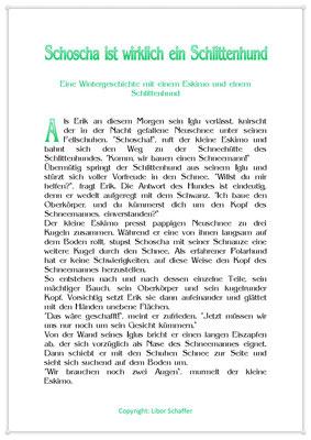 Schoscha ist wirklich ein Schlittenhund, Eine Wintergeschichte für Kinder, Seite 1