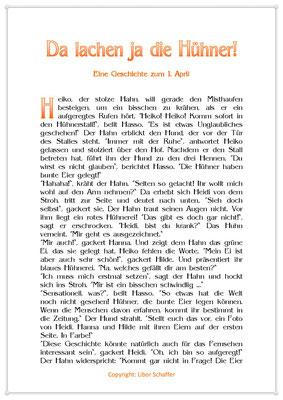 Da lachen ja die Hühner, Eine Geschichte zum 1. April, Seite 1