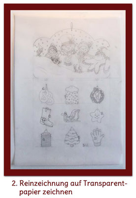 Reinzeichnung auf Transparentpapier