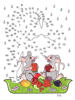 Malen nach Zahlen, Mäuse unter Glockenblume, Bilderrätsel, Punkte verbinden