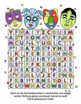 Buchstabenrätsel mit Masken, Es werden Wörter gesucht, Karneval, Fasching, Bilderrätsel