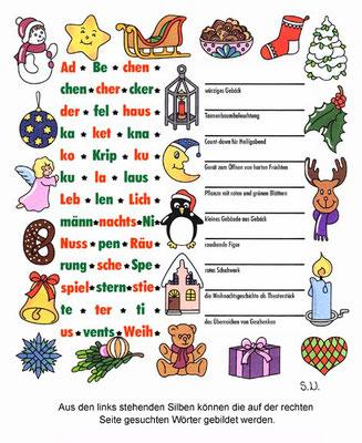 Weihnachtsrätsel, Silbenrätsel mit weihnachtlichen Begriffen, Bilderrätsel