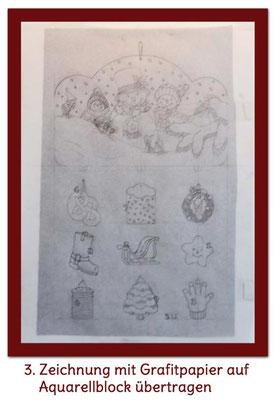 Auf Aquarellblock übertragen mit Grafitpapier