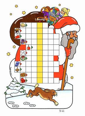 Weihnachtsrätsel, Worträtsel in einem Weihnachtsmann, Bilderrätsel