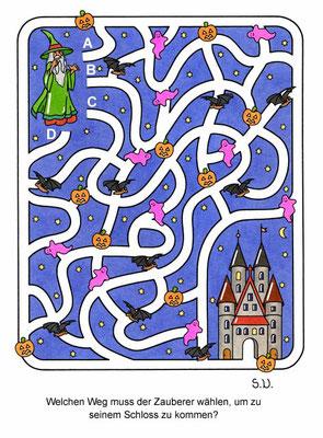 Labyrinth mit Zauberer und Schloss, Bilderrätsel