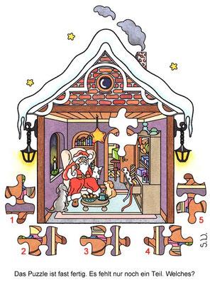 Weihnachtsrätsel, Suchbild, Weihnachtsmann in seinem Haus, Puzzle, Bilderrätsel