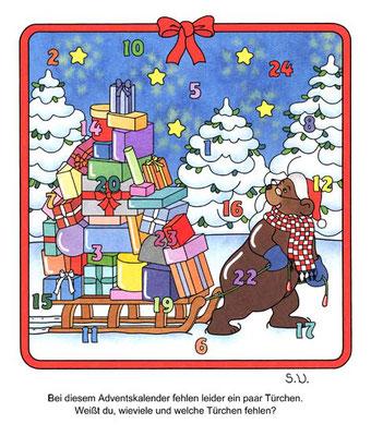 Weihnachtsrätsel, Suchbild, Bär mit Schlitten und Geschenken, Adventskalender, Bilderrätsel