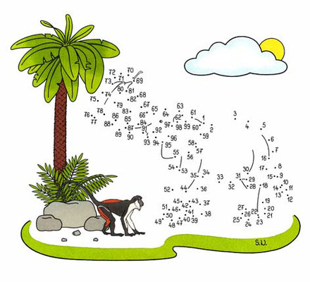 Malen nach Zahlen, Elefant mit Palme und Affe, Bilderrätsel, Punkte verbinden