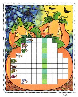 Worträtsel in einem Kürbis, Halloween, Bilderrätsel
