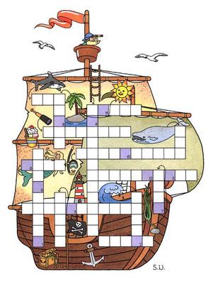 Kreuzworträtsel in Piratenschiff, Bilderrätsel