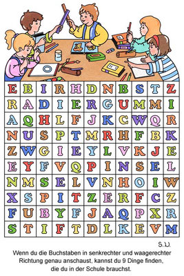Buchstabenrätsel Schule, Bilderrätsel