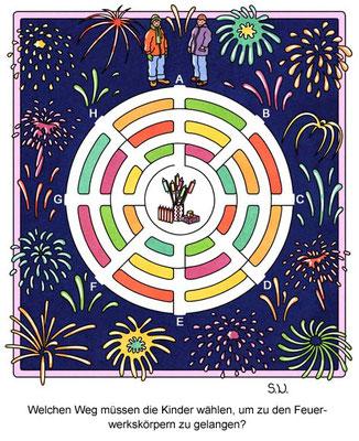 Labyrinth mit einem Feuerwerk, Silvester, Bilderrätsel