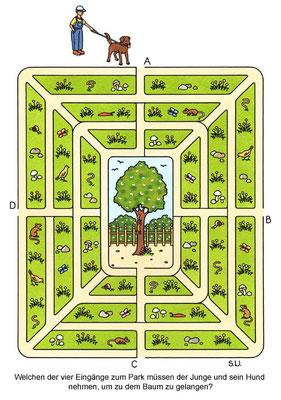 Labyrinth, Junge mit Hund im Park, Bilderrätsel