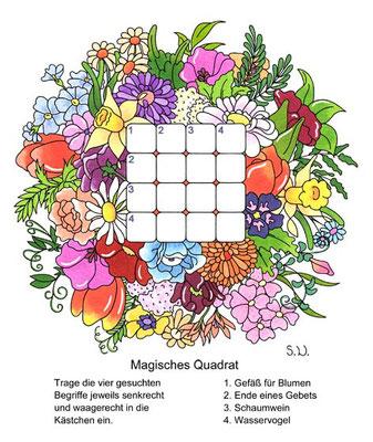 Magisches Quadrat in einem Blumenstrauß, Bilderrätsel