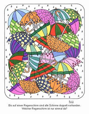 Suchbild, Regenschirme, Bilderrätsel