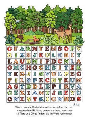 Suchbild, Tiere im Wald, Es werden Wörter gesucht