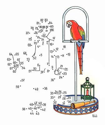 Malen nach Zahlen, Pirat mit Papagei, Bilderrätsel, Punkte verbinden