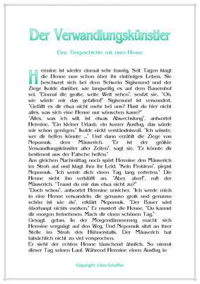 Der Verwandlungskünstler, Eine Kindergeschichte mit einer Henne, Seite 1