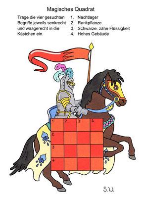Magisches Quadrat, Ritter, Bilderrätsel