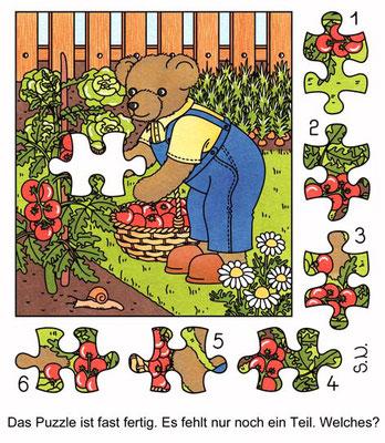 Suchbild, Teddy erntet Tomaten, Puzzle, Bilderrätsel