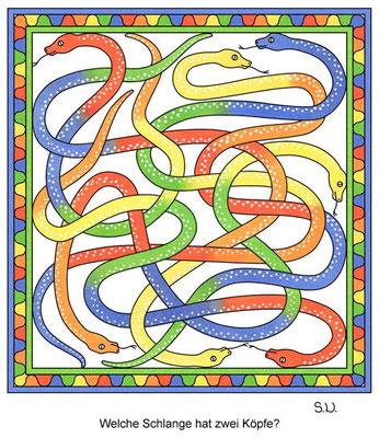 Suchbild Schlangen, Welche Schlange hat zwei Köpfe?, Bilderrätsel