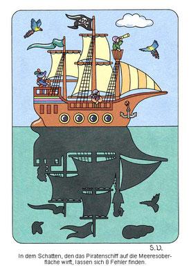 Fehlersuchbild, Piratenschiff mit Schatten, Bilderrätsel
