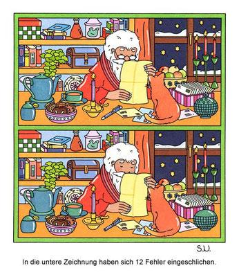 Weihnachtsrätsel, Fehlersuchbild, Weihnachtsmann liest seine Post, Bilderrätsel