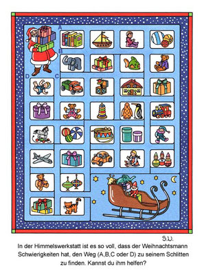 Weihnachtsrätsel, Labyrinth mit Weihnachtsmann und Spielzeug, Bilderrätsel