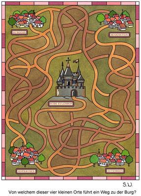Labyrinth mit einer Burg, Bilderrätsel