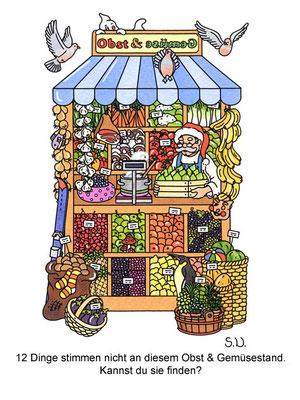Suchbild, Marktstand mit Obst und Gemüse, Bilderrätsel