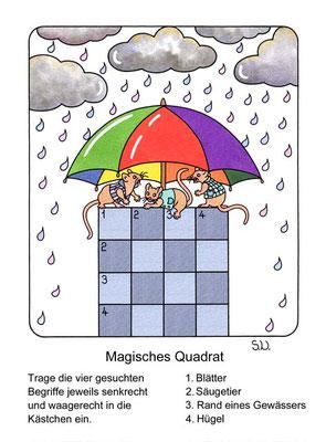 Magisches Quadrat, Mäuse mit Regenschirm und Wolken, Bilderrätsel