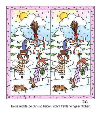Fehlersuchbild, Drei Schneemänner, Winter, Bilderrätsel