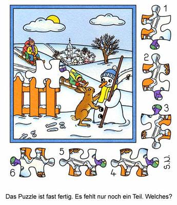 Suchbild mit Kindern und Schneemann, Puzzle, Winter, Bilderrätsel
